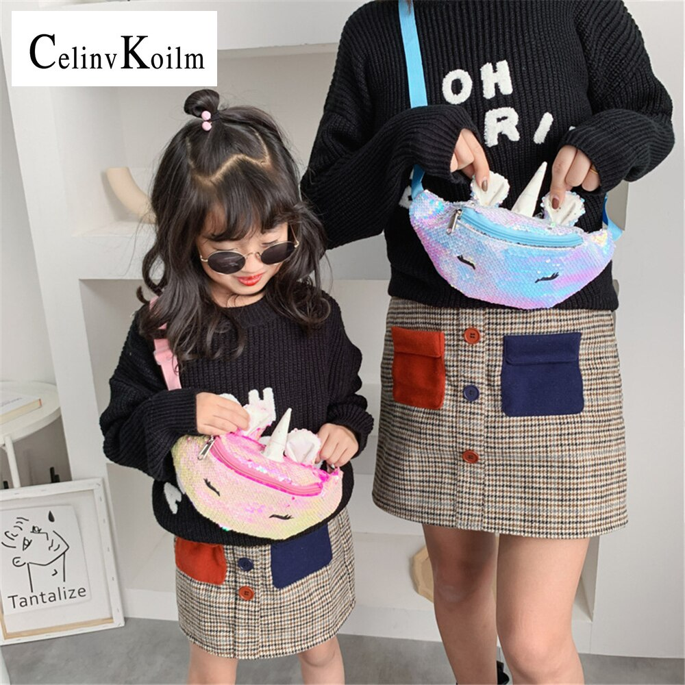 CELINV KOILM Cute 2021 Children's Sequined Waist Bags Fashion Kindergarten Girls Casual Wild Chest Bag Travel Small Shoulder Bag