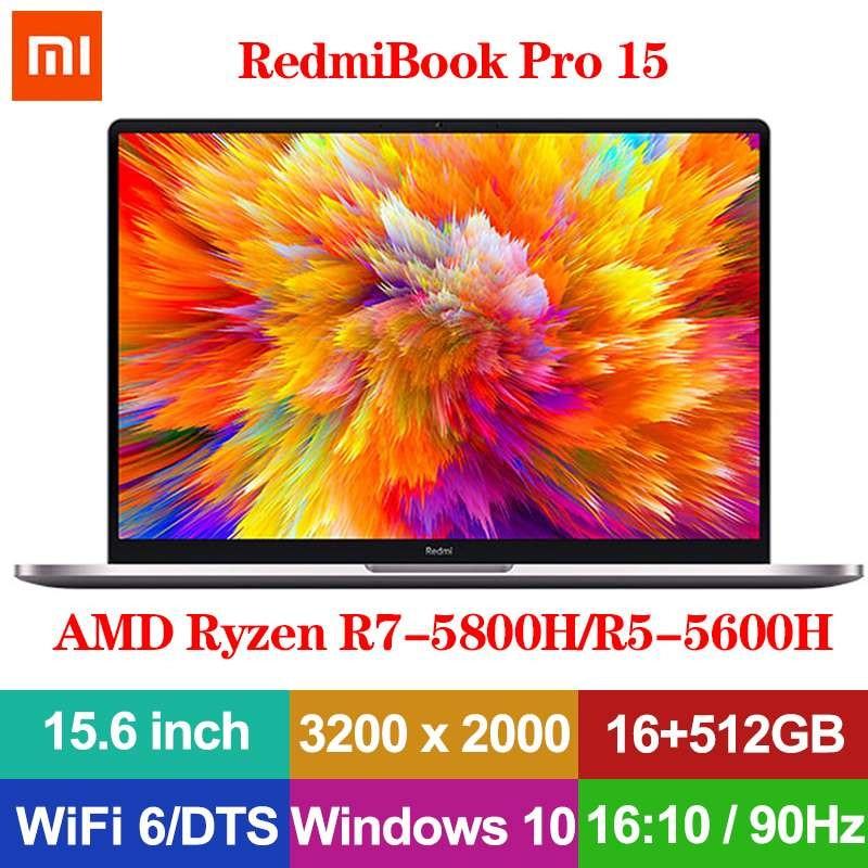 Xiaomi RedmiBook Pro 15 Laptop 15.6 Inch 3.2K 90Hz Refresh Rate AMD Ryzen R7-5800H/R5-5600H 16GB 512GB Win10 WIFI 6 PC Notebook