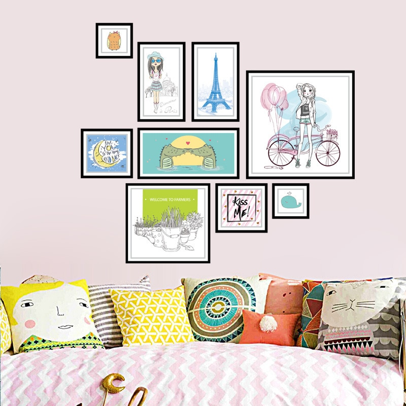 Removable 3D wall sticker combination picture frame bedroom living room PVC waterproof decoration sticker