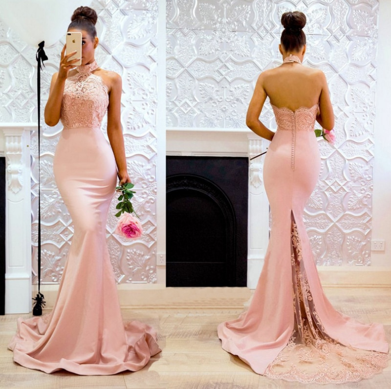 2021 Sleeveless Halter Neck Lace Elegant Lace Mermaid Evening Dress Party Dress Performance Evening Dress Girl фото