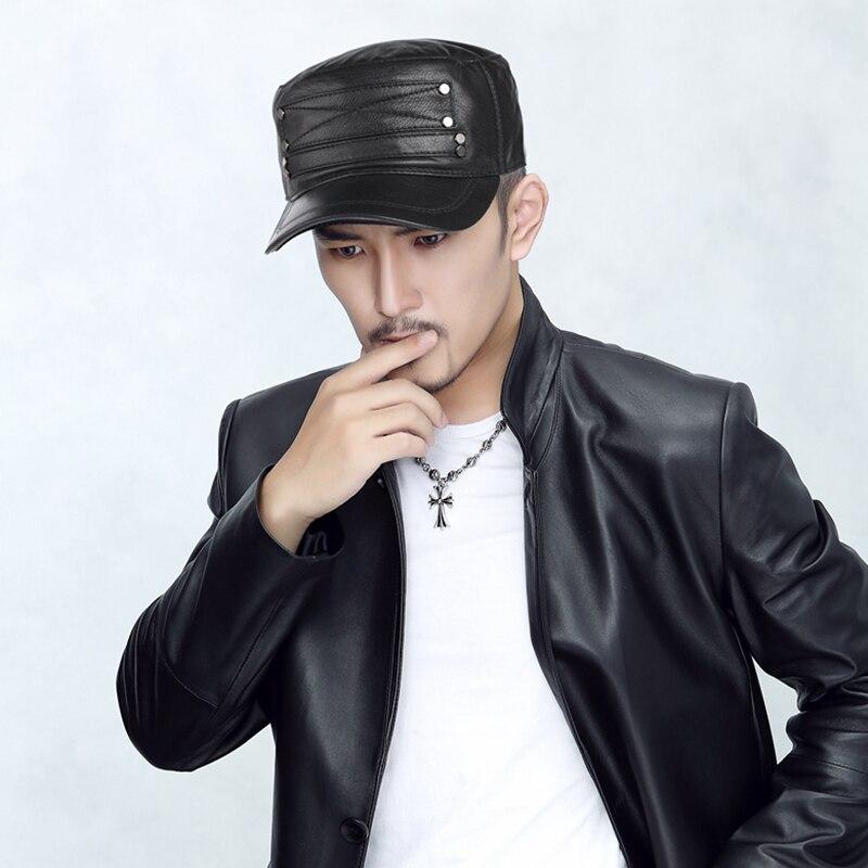 الكلاسيكية رجل الشتاء قبعة جلدية حقيقية الدافئة العسكرية الحقيقي الأغنام قبعة جلدية s للرجال قابل للتعديل قبعات علوية مسطحة أسود/براون