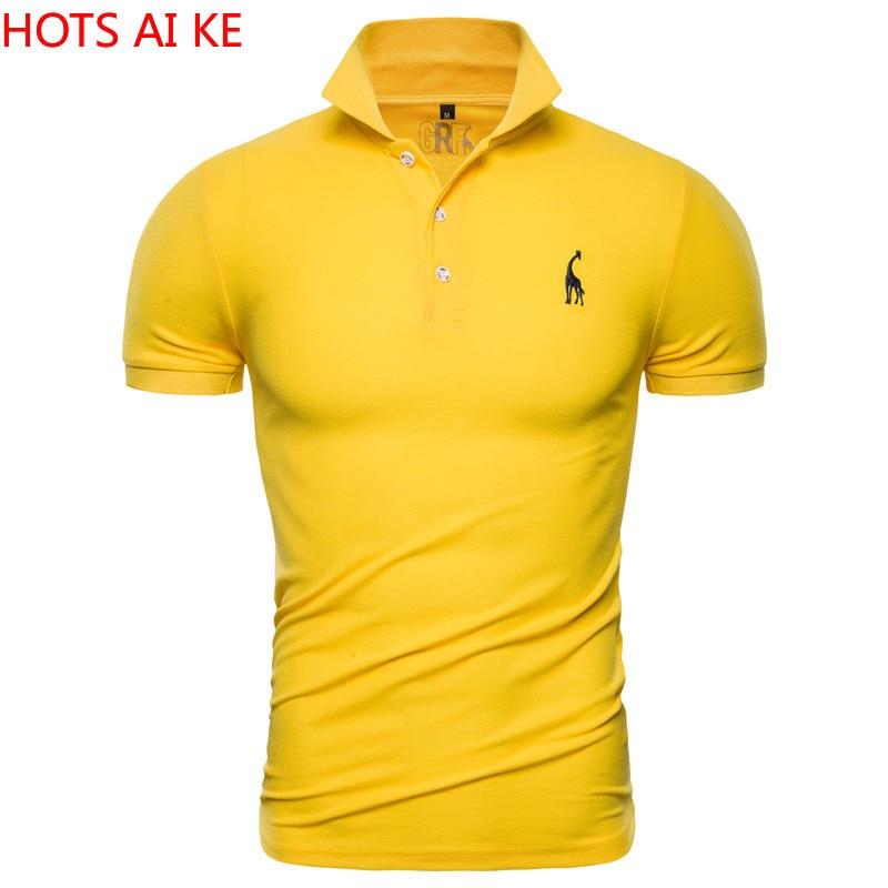 New Polo Shirt Men Solid Casual Cotton Polo Giraffe Men Slim Fit Embroidery Short Sleeve Men's Polo