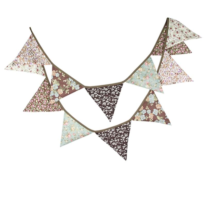 Banderín Vintage marrón de algodón con diseño de flor de café, banderín de boda, fiesta de cumpleaños, banderín de Festival, banderín, banderín