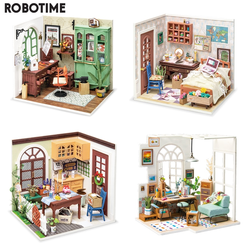 Robotime DIY Studio Bedroom Dining Room House with Furniture Children Adult Doll House Miniature Dollhouse Wooden Kits Toy DGM