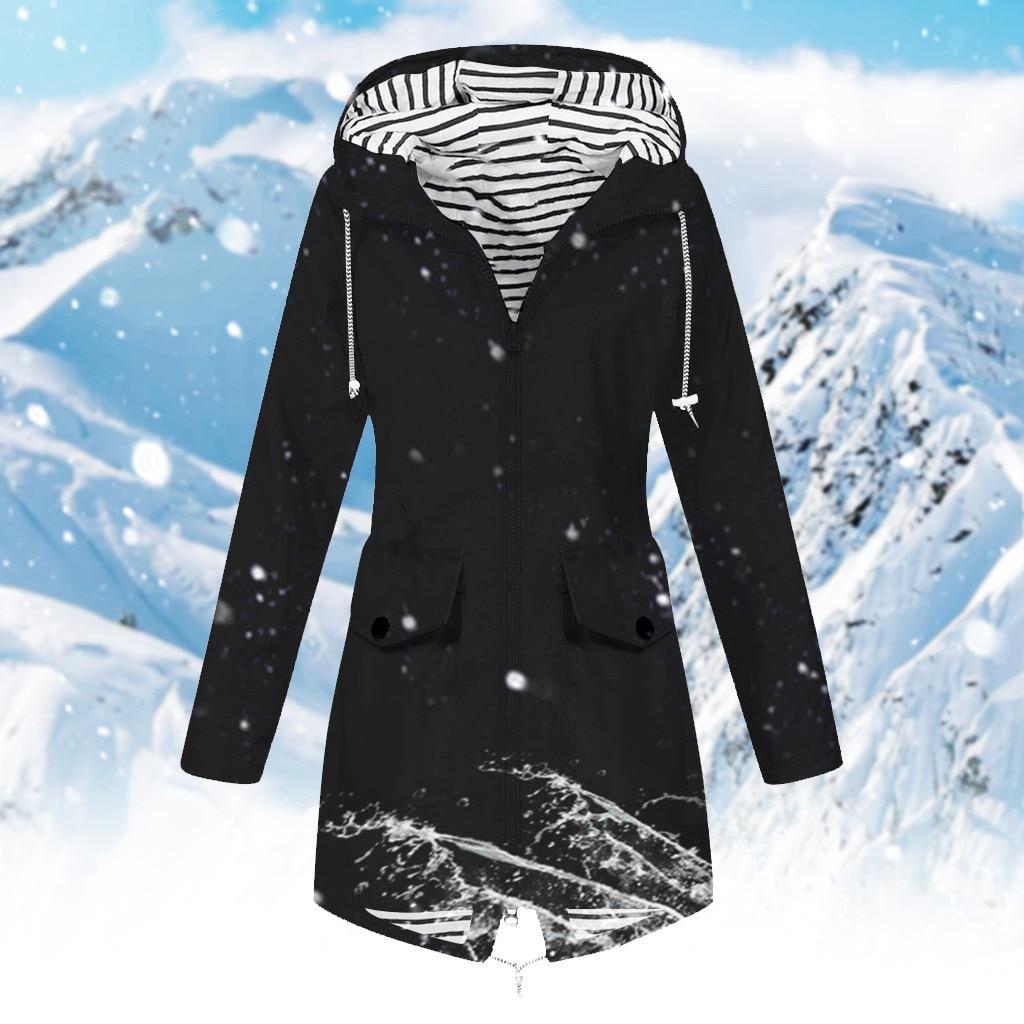 Women Jackets Winter Coat Jacket Outdoor Plus Size S-5XL Hooded Raincoat  Outwear Zipper Windproof
