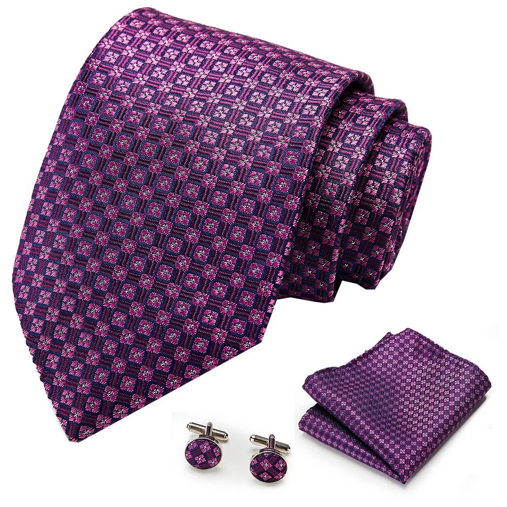 Mens Tie Purple 100% Silk Classic Jacquard Woven new brand Tie Hanky Cufflink Set For Men Formal Wedding Party недорого