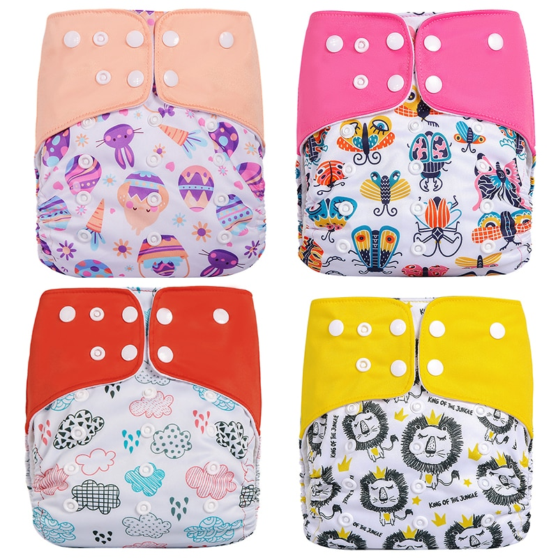 super soft minky printed baby one size pocket diaper with double leg gusset breathable diaper nappies with bamboo charcoal inner Baby Pocket Cloth Diaper Nappy Reusable Washable Adjustable 3kg-15kg One Size Boy Girl Newborn Waterproof Reusable Nappies