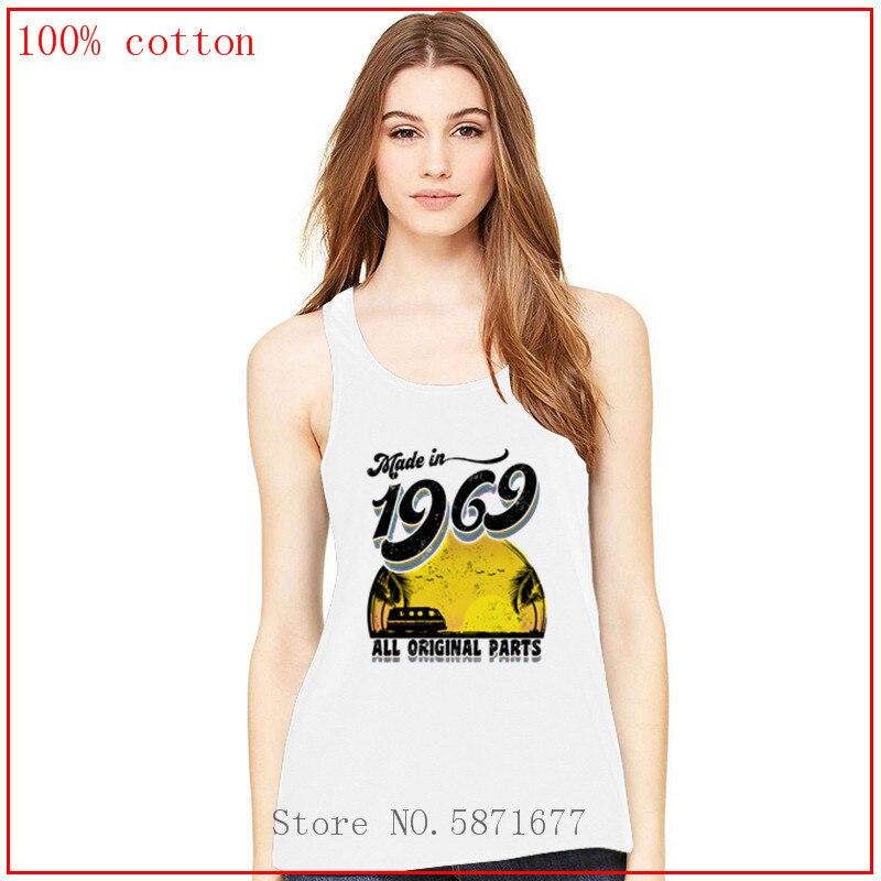 Hecho en 1969, todas las piezas originales, letras negras, Color diversificado, camisetas sin mangas para mujeres, camisetas, camiseta, top halter de alta calidad