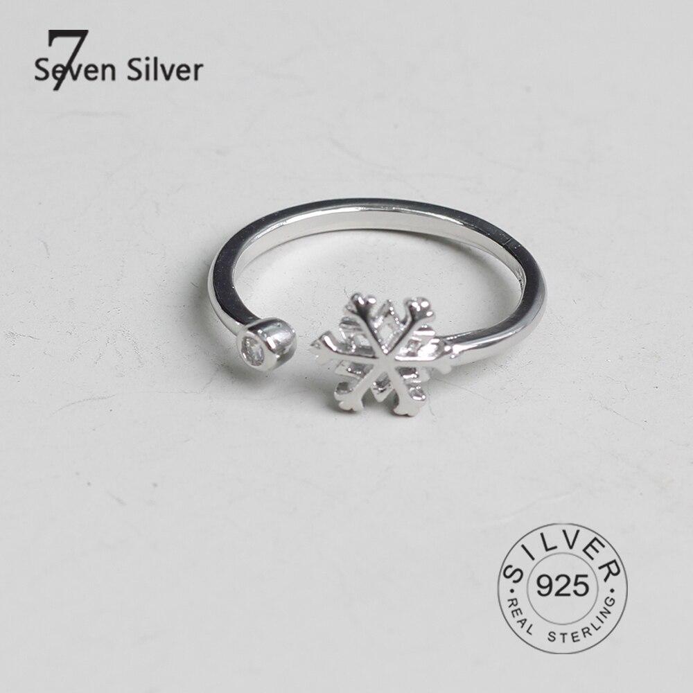 Настоящие женские серебряные кольца в форме снега, модные ювелирные изделия ziron, большие Регулируемые Антикварные кольца, кольца
