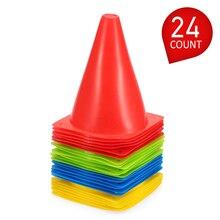 7 인치 플라스틱 스포츠 훈련 교통 콘 공간 마커 플라스틱 24 팩 어린이 홈 축구 훈련 축구 4 구멍