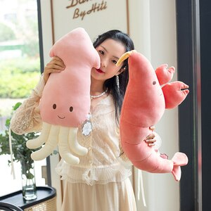 ins squid chameleon dolphin prawn plush pillow cute animal shape filled padded home decoration children's gifts