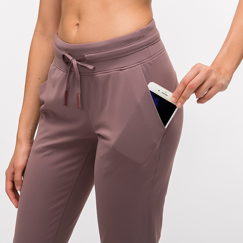 BESCSHERE  Naked-feel Fabric Workout Sport Joggers Pants Women Waist Drawstring Fitness Running Sweatpants with Two Side Pocket