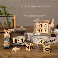 1 pieza de resina de dibujos animados + señorita de madera/SR. Calendario de conejo Calendario de mesa portátil creativo para decoración de manualidades