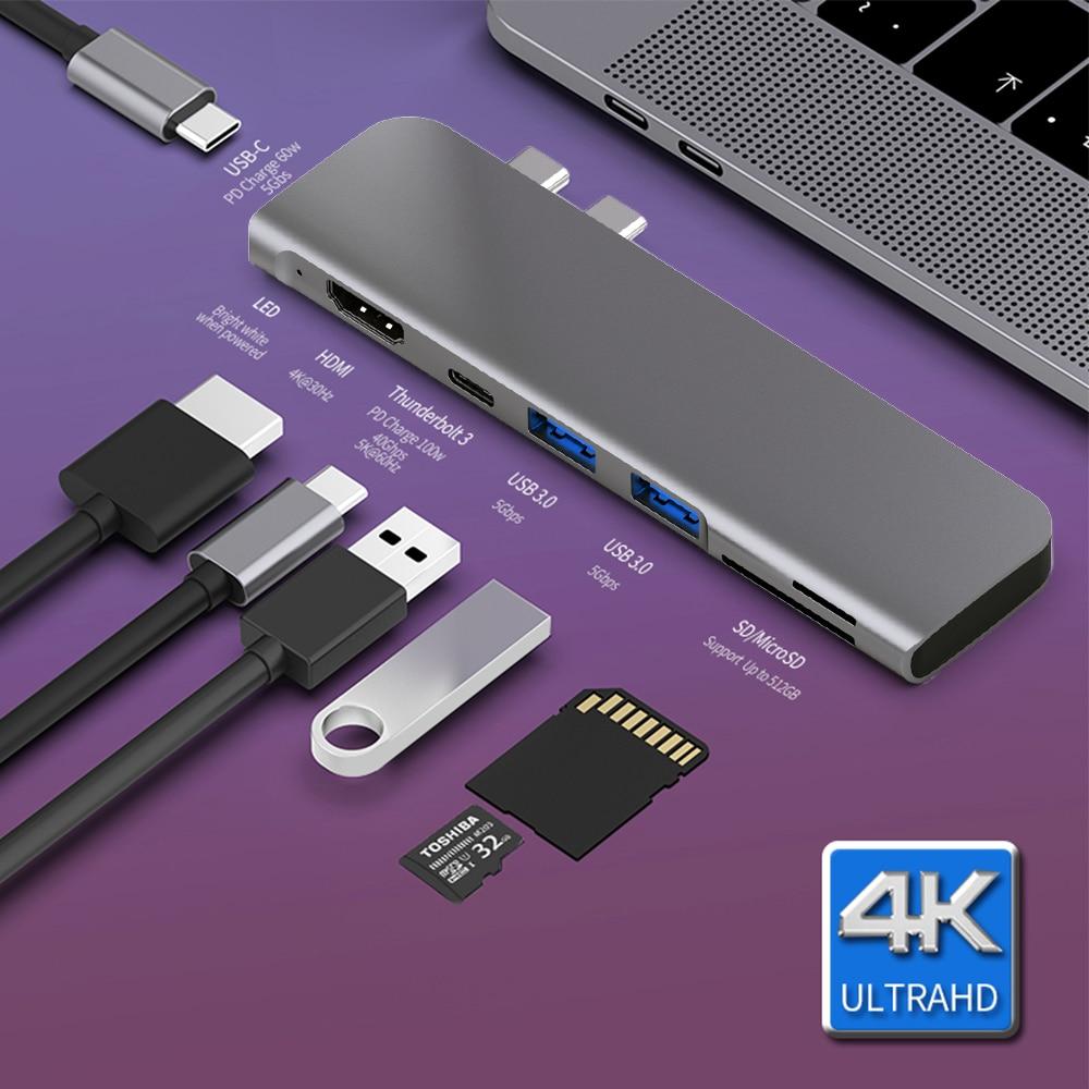 محول USB 3.1 Type-C Hub إلى HDMI 4K Thunderbolt 3 ، محور USB C مع Hub 3.0 TF SD ، فتحة قارئ PD لجهاز MacBook Pro/Air 2018 - 2020