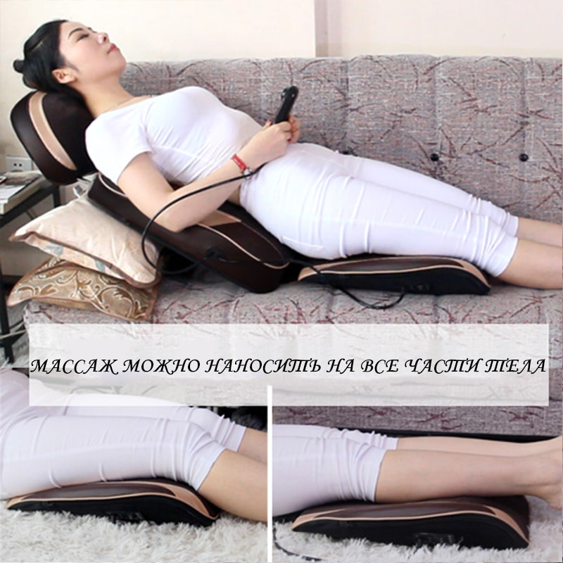 Cervical vertebra massager neck shoulder waist back whole body multifunctional household massage cushion for leaning on chair cu enlarge