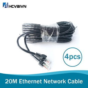 Value 4 pcs 20M 65ft cat5 Ethernet Network Cable RJ45 Patch Outdoor Waterproof LAN Cable Wires For CCTV POE IP Camera System