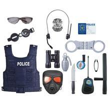 18 pièces/ensemble enfants semblant jouer policier jouet accessoires Police jeu de rôle Kit flic jouet ensemble pour déguisement enfants jeu de rôle