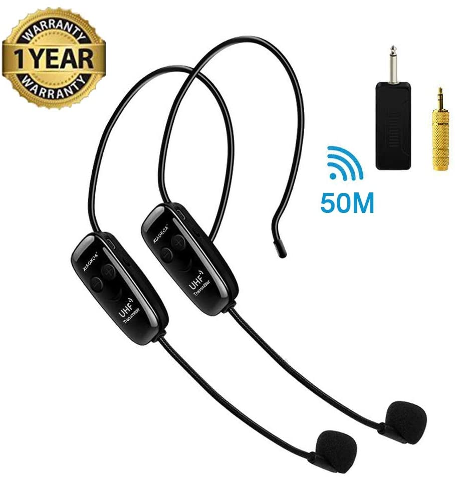 Auriculares inalámbricos, micrófono inalámbrico UHF, 2 micrófonos inalámbricos y 1 receptor, auriculares y portátil 2 en 1 recargables para