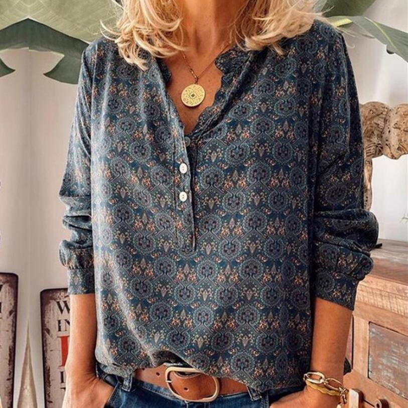 2020 Autumn And Winter New Women's Retro Printing V-Neck Long-Sleeved Loose Blouse Casual Top Fashion T-Shirt