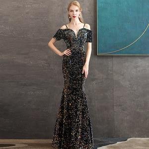 Evening Dress 2021 Formal Evening Party Dress Elegant Boat Neck Mermaid Dress Bling Bling Sequin Robe De Soiree