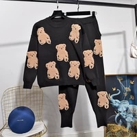 fashion red black knitted tracksuit women two piece outfits cartoon patch design sweater pants set loose casual knit suit female