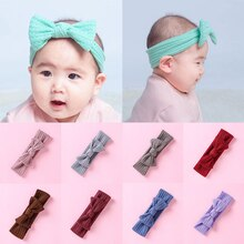 Baby Infant Big Bow Knitted Headband  Elastic Hair Band Soft Kids Girls Headwrap Turban Solid Color