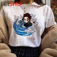 Camiseta feminina kimetsu no yaiba, camisa engraçada masculina gráfica do anime japonês/feminino