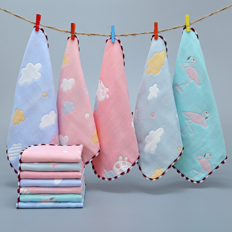 Bebé toalla muselina cuadrados pañuelo mano baño alimentación muselina gasa bebé Toalla de algodón cuadrado toallas para niños niñas paño de lavado