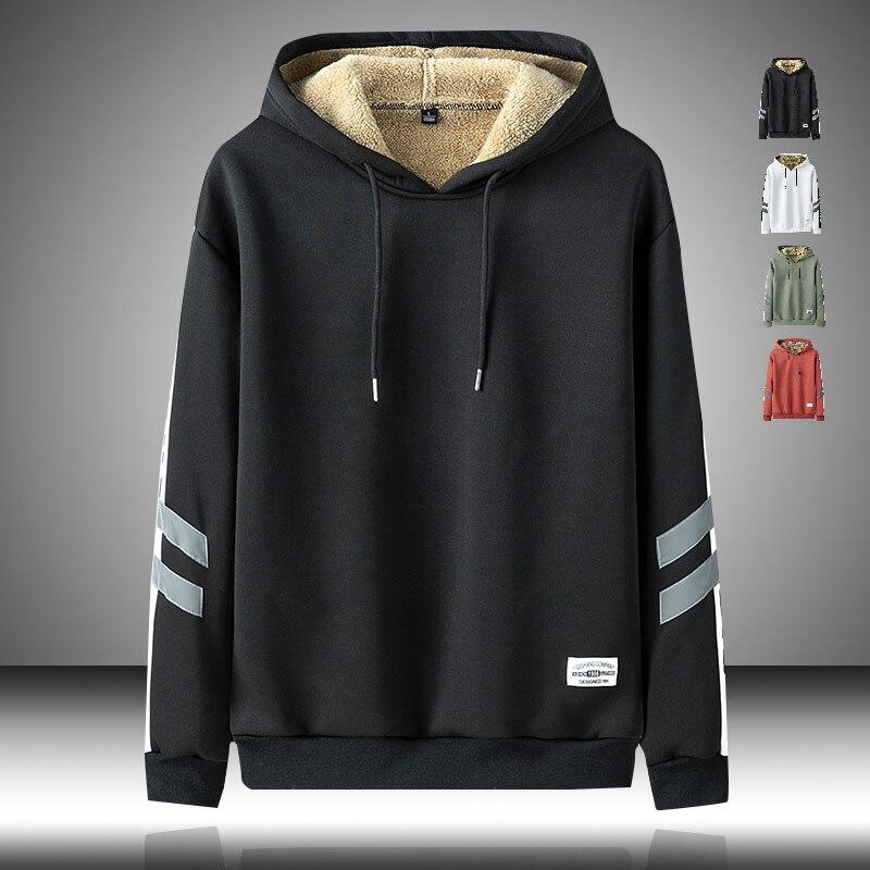 Bluzy z polaru mężczyźni 2020 bluza z kapturem z kapturem Solid Color koreański sweter mężczyźni zimowy ciepły, puszysty Streetwear bluza z kapturem w stylu Hip Hop