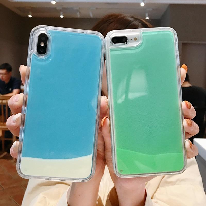 Luminous Neon Sand Case For Samsung A10 A20 A30 A50 A70 A5 A7 S6 S6 Edge S7 J3 J5 J7 J4 J6 2017 2018 Quicksand phone Case Cover