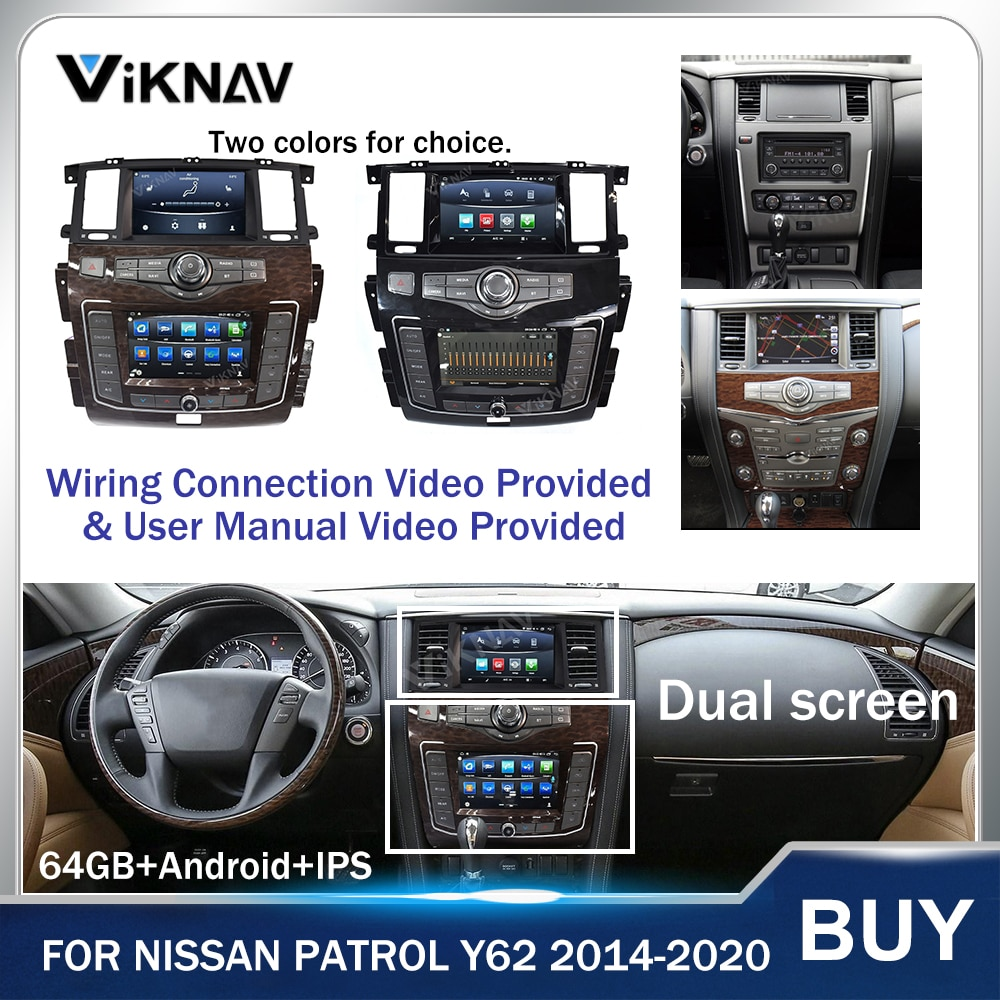 Android Dual Screen Car Radio GPS navigation Head Unit for Nissan Patrol 2014-2020 Auto Stereo Receiver multimedia system player