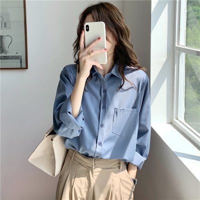 H08a91c479d59439a842d1338c6c066c1j - Spring / Autumn Turn-Down Collar Long Sleeves Solid Pocket Blouse