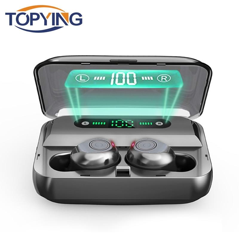 Topying f9 tws mini 5.0 fones de ouvido bluetooth sem fio no ouvido baixo música esportes ipx7 à prova dwaterproof água para o telefone inteligente