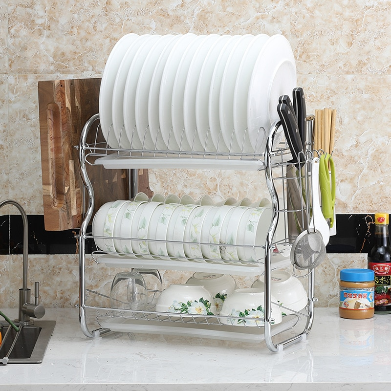 Modern Three-layer Draining Dish Rack Large Capacity Multifunctional Drain Kitchen Storage Dishes Chopsticks Knife Holder Racks