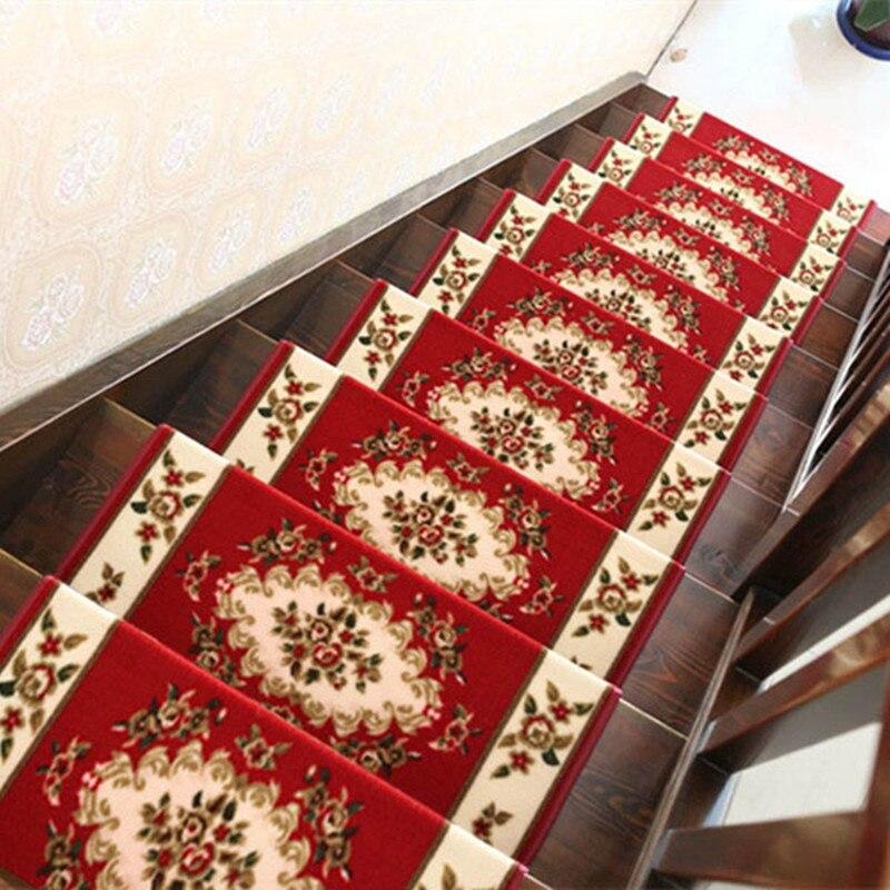 Estilo europeo, 10 Uds., juegos de alfombras para escaleras, antideslizantes, alfombra para pisar escalones, alfombrilla de lujo para escaleras, ajuste de 25cm de ancho
