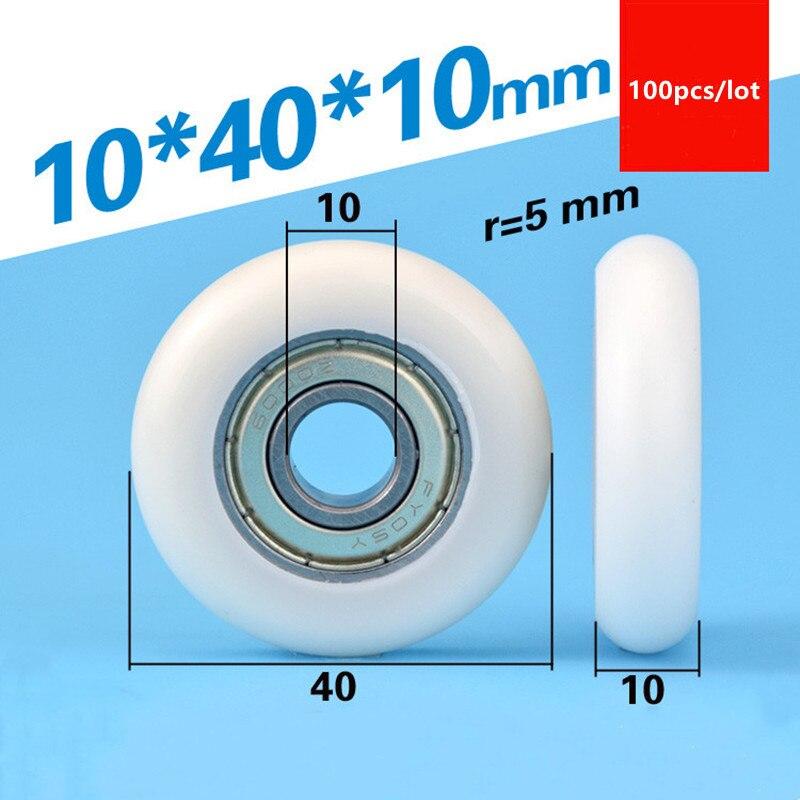 100 قطعة قوس دائري البلاستيك المغلفة تحمل 6000ZZ 6000 10*40*10 مللي متر دليل عجلة بوم بكرة النايلون 10x40x10 ملليمتر