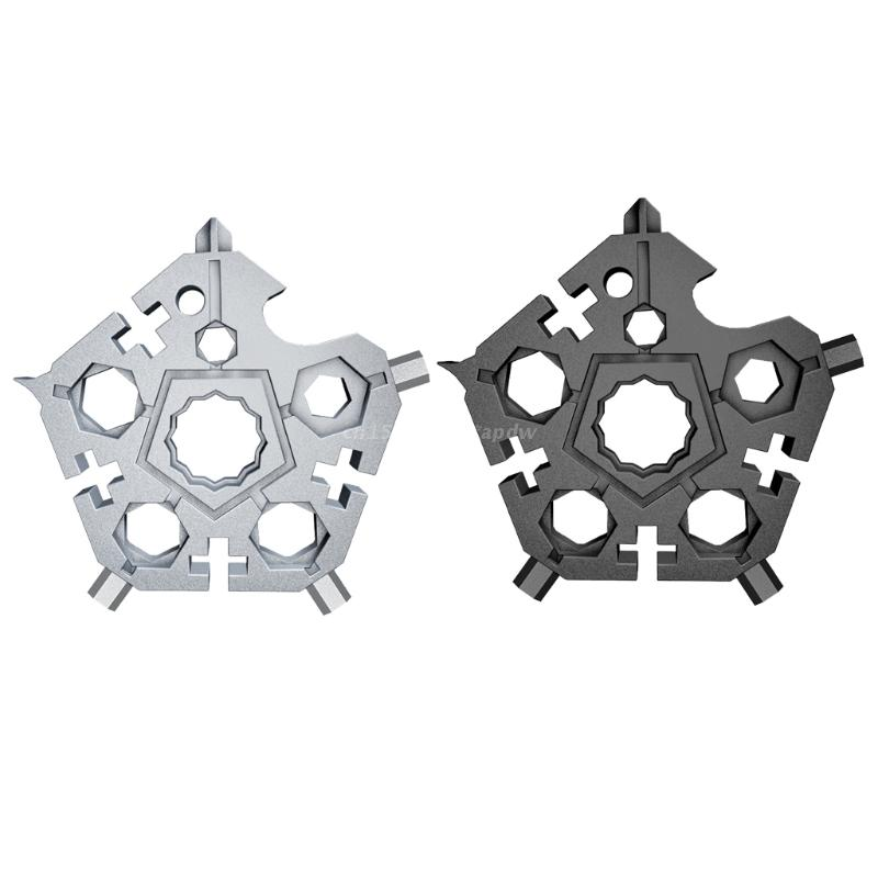 28TB 23 in 1 Multi Tool Portable Steel Tool Key Chain Five-angle Wrench Tool Set of 2 Pocket Tools Snow Flake Shape