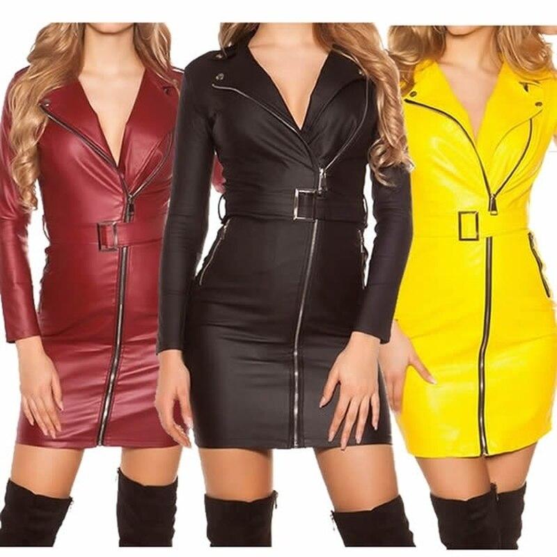 Zogaa 2019 nova moda feminina vestido de couro falso sexy vestido de festa curto cinto magro ajuste mini v-neck vestido bandagem zíper vestido fino