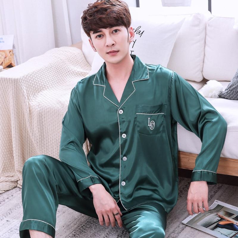 Men's Stain Silk Pajama Set Men Silk Sleepwear Men Modern Style Soft Cozy Satin Nightgown Men Sets