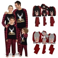 plaid christmas family matching pajamas set topspants 2pcs father mother daughter son sleepwear xmas mommy and me pjs clothes