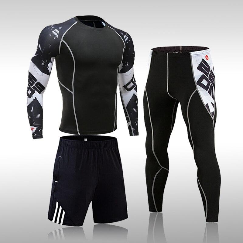 3 шт./компл. мужской спортивный костюм для тренажерного зала, фитнеса, компрессионный спортивный костюм, одежда для бега, бега, спортивная од...