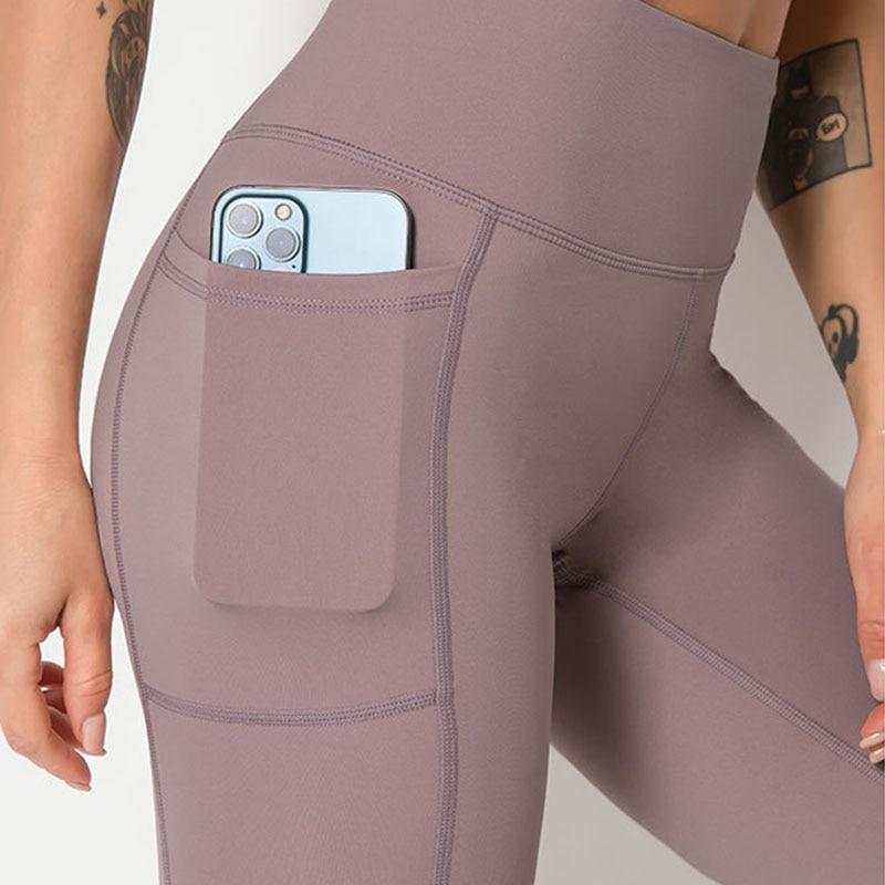Calças de Yoga Comprimento do Tornozelo com Lado Worpro Mulheres Elástico Drop-in Bolsos Cintura Alta Amanteigado Macio Yoga Pant 25 Polegada Inseam