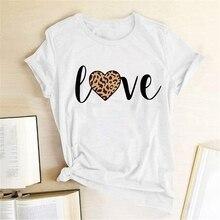 Leopard Heart Print Love T Shirts Women Fashion Short Sleeve Cute T-shirt Casual Harajuku O-Neck Top Tee Femme
