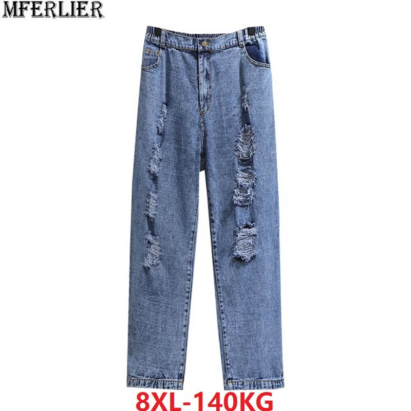 spring Women Jeans hoole plus size big 8XL 7XL 6XL loose high streetwear Elastic Waist Pants Oversized cool personality Jeans 50