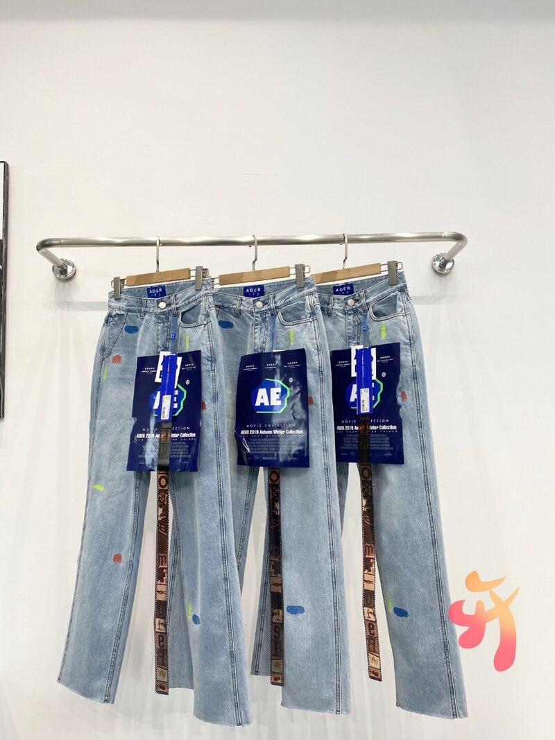 Негабаритных ADER ERROR, теплые мужские джинсы стрейч женские брюки высокое качество окрашенные прямо вышитые брюки Adererror повседневные джинсы б...