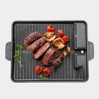 korean non stick bakeware smokeless grill pan rectangle barbecue trays indoor outdoor party camping bbq grilling kitchen tools