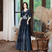 Prom Dresses Long 2020 Elegant Long V-neck Velvet dress  A-line Hot Selling Vestidos De Graduacion
