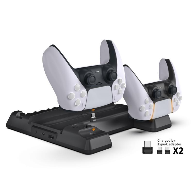 Inalambrico PS5 del cargador del controlador LED base de carga USB doble estacion de ventilador desmontable de puerto de coche