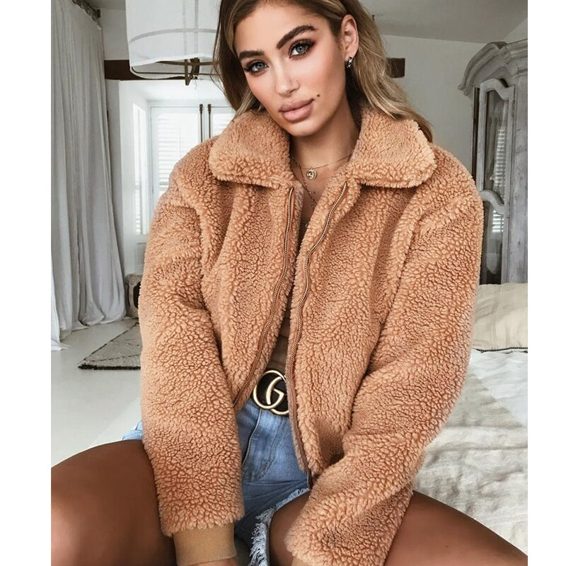 Зимние женские флисовые куртки, толстая теплая куртка с мишкой Тедди, пальто, кроп-топы, верхняя одежда на молнии, пальто оверсайз с карманам...