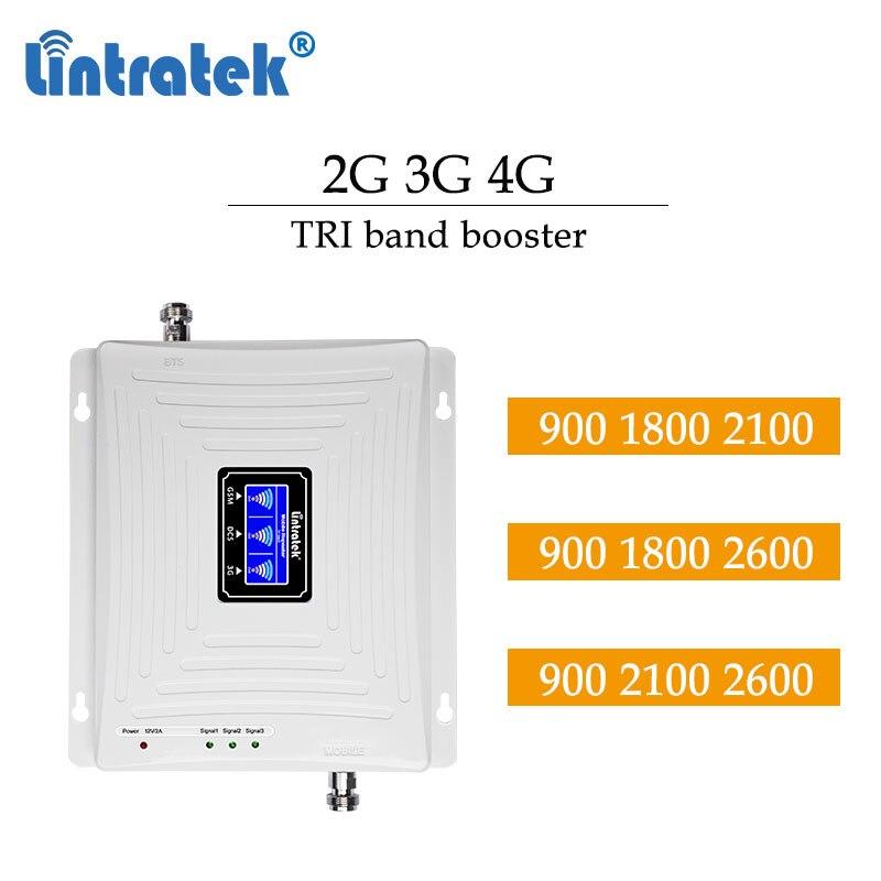 Lintratek 2g 3g 4g 900 2100 1800mhz 2600mhz 4g celular impulsionador tri faixa gsm lcd display lte repetidor amplificador # dd